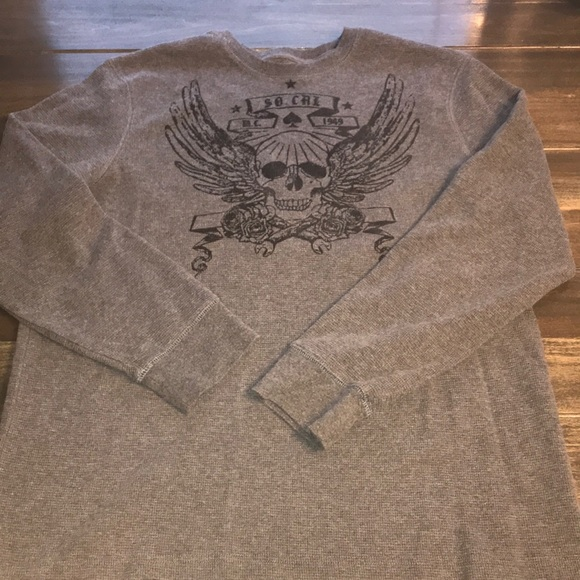 Old Navy Other - Me s Old Navy Grey Skull Thermal Long Sleeve Shirt